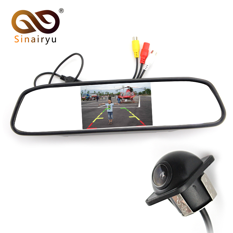 Sinairyu Car Video Parking Monitors Assistance HD 4 3 inch TFT Screen Car Mirror Monitor With