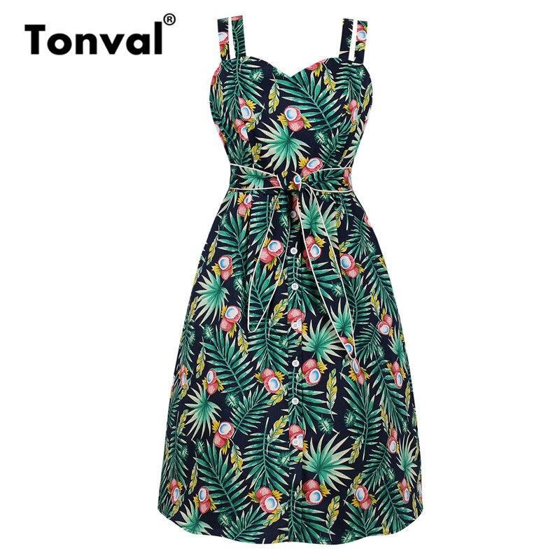 Tonval Vintage Single Breasted Green Botanical Print Elegant Dress Women Pocket Side Tie Tunic Spaghetti Strap High Waist Dress