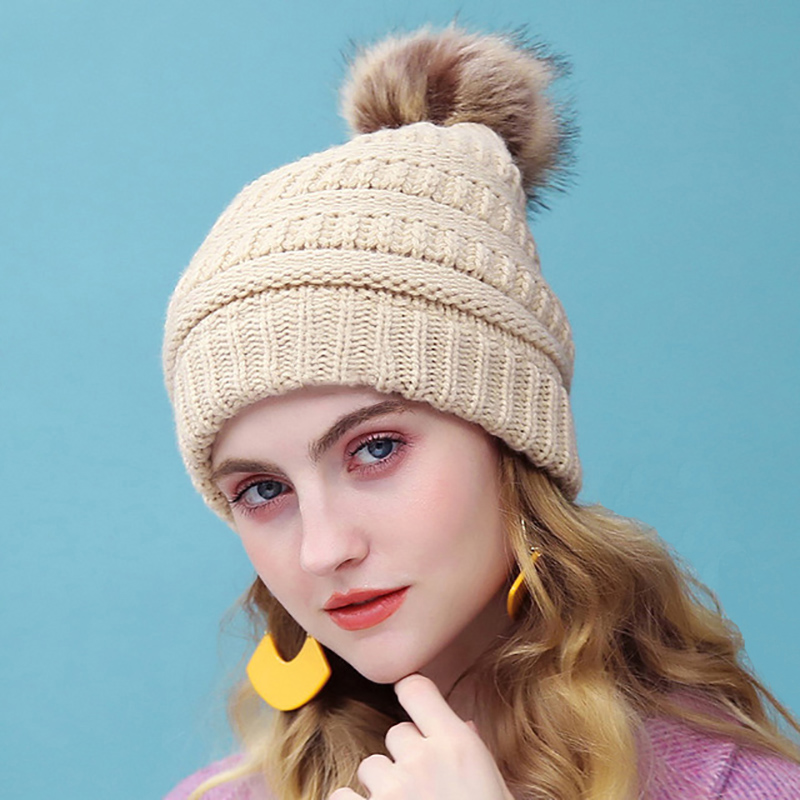 Women Winter   Beanies   Hats Female Ball Cap Pom Poms Hats For Girl Knitted   Beanies   Hat Thick   Skullies     Beanies   gorro feminino