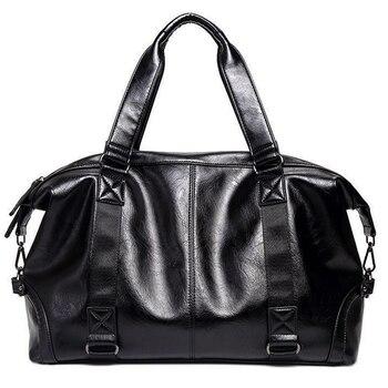 bdcaa207 Cuero de la PU bolsa de viaje bolso hombres bolso de gran capacidad de fin  de semana bolsa de lona de los hombres de moda bolsas de viaje equipaje ...