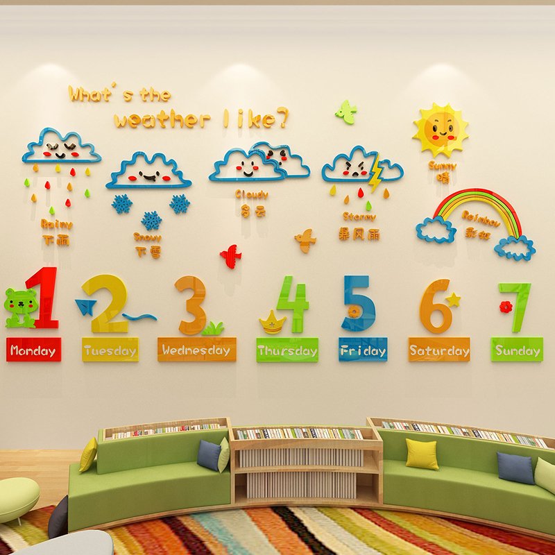 Early education class acrylic 3d stereo wall stickers ...