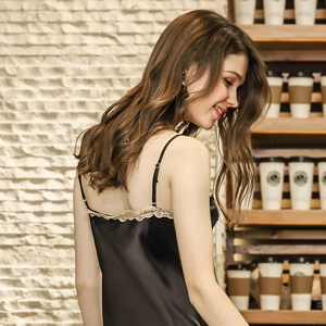 Image 4 - Damen Sexy Silk Satin Nachthemd Lange Nacht Kleid Spitze Sleep Sommer Nachthemd V ausschnitt Schlaf Kleid Nachtwäsche Für Frauen