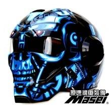 610 IRONMAN MASEI capacete da motocicleta Azul Terminator Casque motocross metade Personalidade capacete aberto rosto capacete capacete de Corrida Ciclo