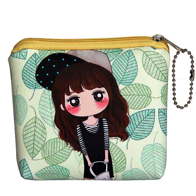 Cute Cartoon Mini Coin Purse Kids Girl PU Leather Wallet Money Bag With Keychain Children Small Zipper Change Purse Coin Purses