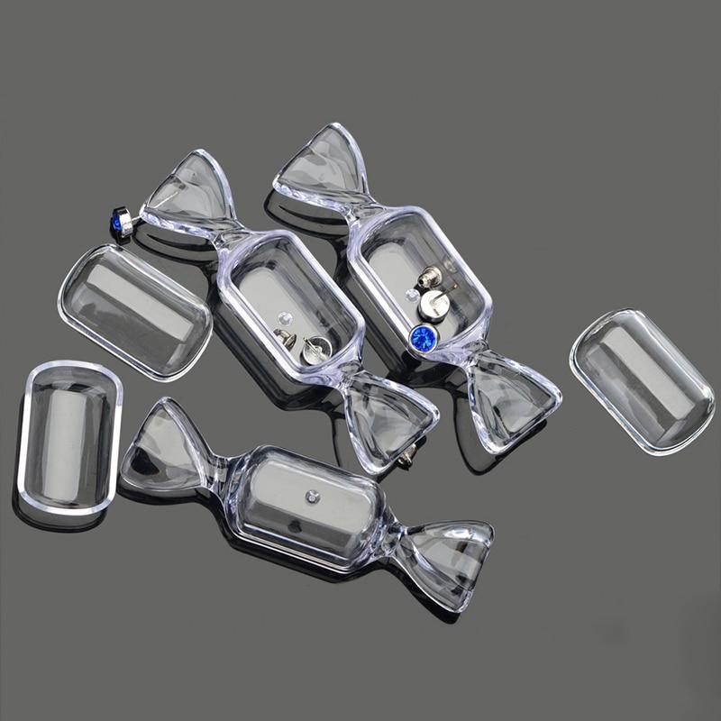 Doces circulares em forma de caixas de caixa transparente caixa de plástico transparente para jóias contas comprimidos piercing recipiente 5 pcs livre