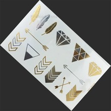 Metallic Temporary Flash Tattoo Body Makeup Sticker Gold Silver DIY Painting Art Easy Clean Simulation Tattos