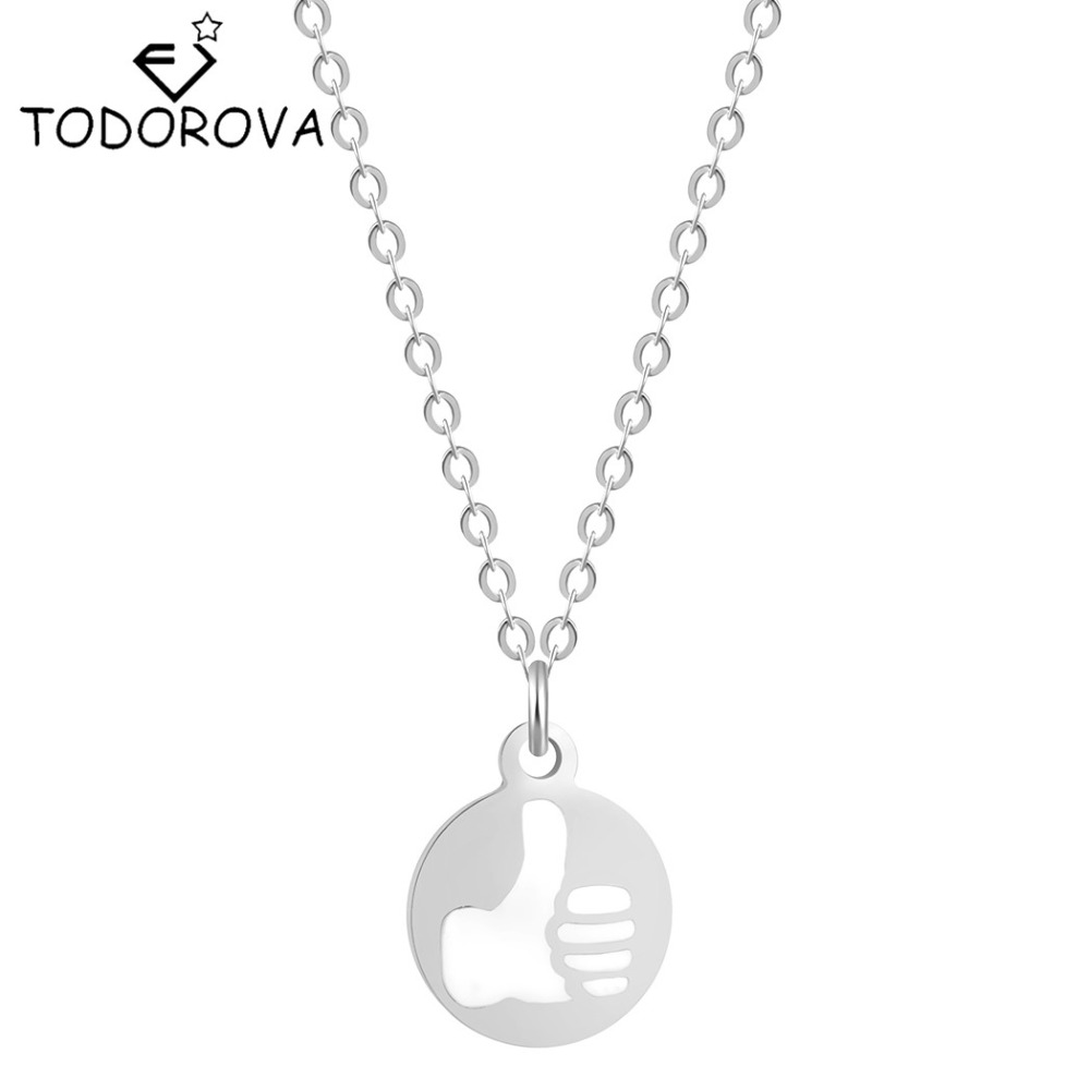 Todorova 10pcs Fashion Thumb Pendant Necklace Thumbs-up Praise Good Necklaces Praise Others Gesture Pendant Necklaces for Women ...