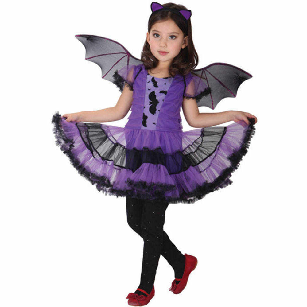 ARLONEET Toddler Girls Boutique Outfits Halloween Costume Kids Baby Girl Clothing Costume Dress+Hair Hoop+Bat Wing Outfits