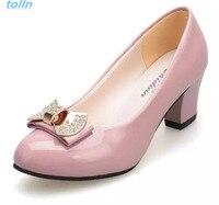 Chaude 2017 Femmes Pompes Bloc Épais Haute Talons Chaussures de mariage dames Bowtie Rose de Travail chaussures Femme zapatos mujer dames schoenen