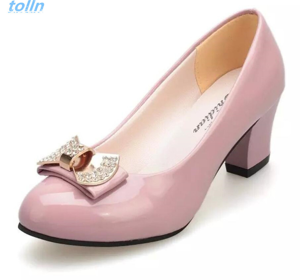 Hot 2017 Women Pumps Block Thick High Heels wedding Shoes ladies Bowtie Pink Working shoe Woman zapatos mujer dames schoenen