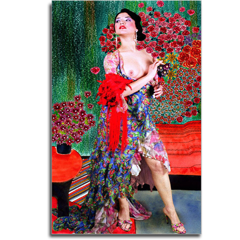 Beauty Diamond embroidery Nude Art Pictures Of Rhinestones Person Holding a roses Canvas For Embroidery Handcraft Diamond Mosaic
