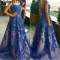 ロイヤルブルービーズウエディングドレスでアップリケフォーマルイブニングパーティードレス2018ロングドレス手仕事vestidosデ·フィエスタ