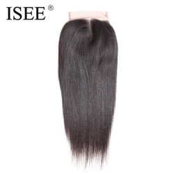 Isee straight hair lace closure remy human hair 4 4 middle part free shipping medium brown.jpg 250x250