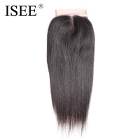 ISEE Brazilian Lace Closure Hair Straight Remy Human Hair 4 4 Middle Part Free Shipping