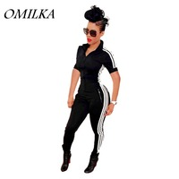 OMILKA 2017 Summer Women Side Striped Front Zipper Pocket Bodycon Rompers And Jumpsuits Sexy Black Short