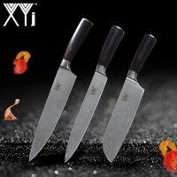 XYj Best 3 Pcs Kitchen Knives Sets Japanese Pretty Pattern Chef Stainless Steel Knife Sets Santoku