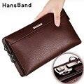 Hansband кошелек из натуральной кожи с паролем, мужской держатель для паспорта и карточек, кошельки для монет, чехлы для телефонов, наручные муж...