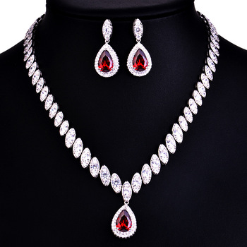 925 Sterling Silver Platinum Plate Luxury Diamond Women Wedding Jewelry Set Red/Green/Blue/White CZ Drop Earring Choker Necklace 1