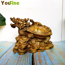 Bronze Dragon Turtle Antique Handmade Pure Copper Gift Office Feng Shui Decoration