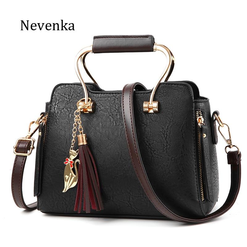 Nevenka Famous Brand Women Leather Handbag High Quality Pleated Tassel Shoulder Bag Fashion Chains Bags Luxury Casual Tote