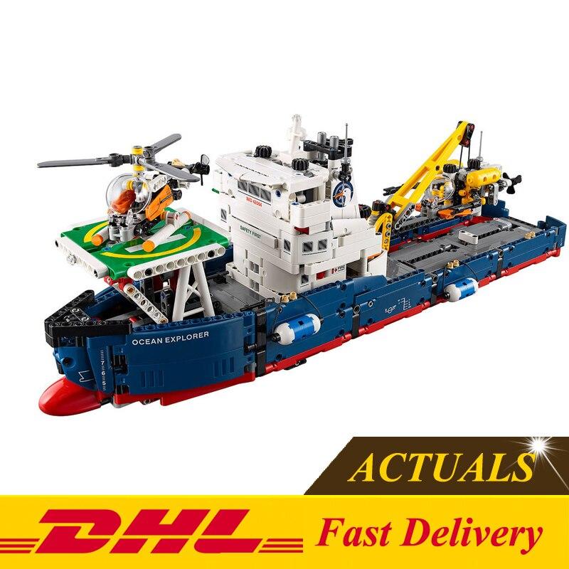 ФОТО 2017 New LEPIN 20034 1347Pcs Technic Series Ocean Explorer Model Building Kit Blocks Bricks Compatible Toy Gift 42064