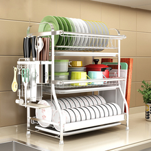 304 Stainless Steel Bowl Rack, Drainage Hanging Bowls, Chopsticks, Dishes, Utensils, Receptacles, Kitchen Shelf, 3
