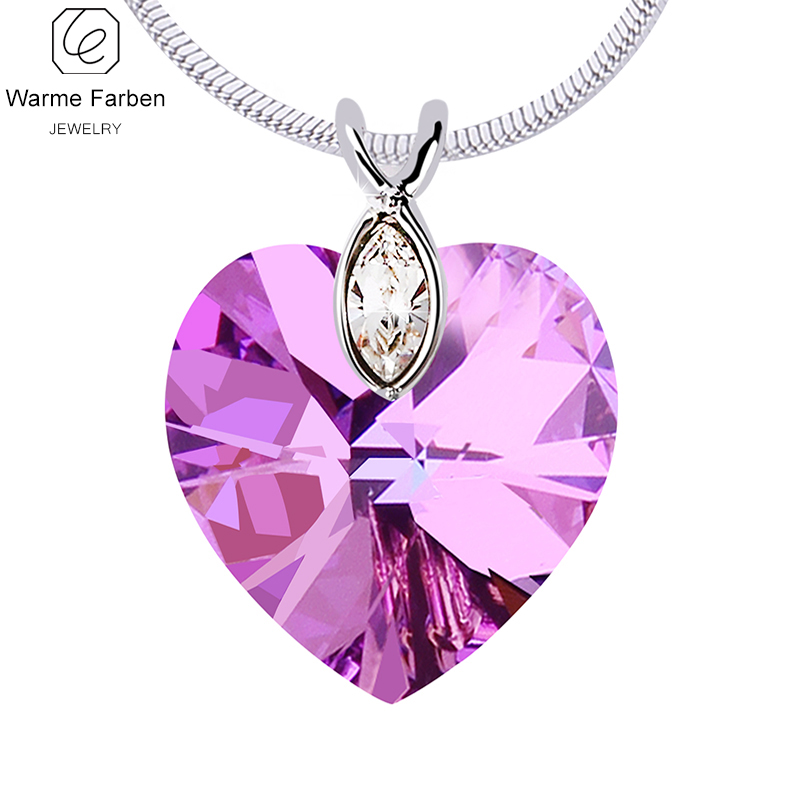 WARME FARBEN Fine Jewelry Women Necklace Crystal from Swarovski Heart Amethyst Pendant Necklace Collares Gift for Female