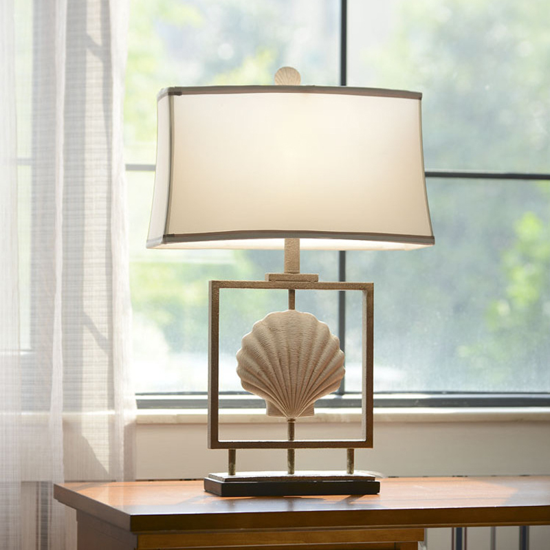 American simple white shell resin table lamp bedroom bedside garden retro light LO7103 Z ...