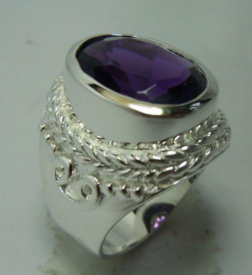 En gros et faire sur commande la mode de détail de gemme pourpre 925 anneaux en argent