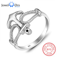 JewelOra 925 Sterling Silver Wholesale And Detail Rings For Woman Fashion Jewelry Anchor Finger Rings RI101177