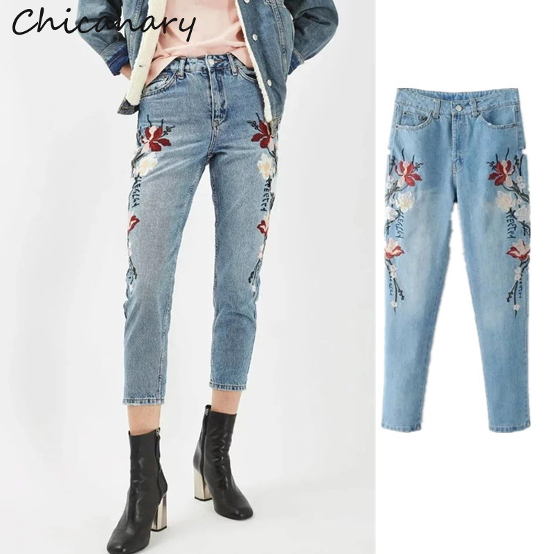 Chicanary Floral Embroidery Mom Jeans Women High Waist Wash Blue Denim Pants