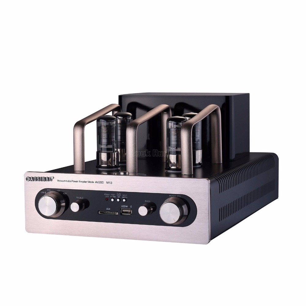 Douk Audio HiFi Vacuum Tube Power Amplifier Stereo Intergrated Amp w/ Bluetooth USB SD Card douk audio integrated vacuum tube amplifier class a hifi power amp usb dac lossless decoder 110v 240v