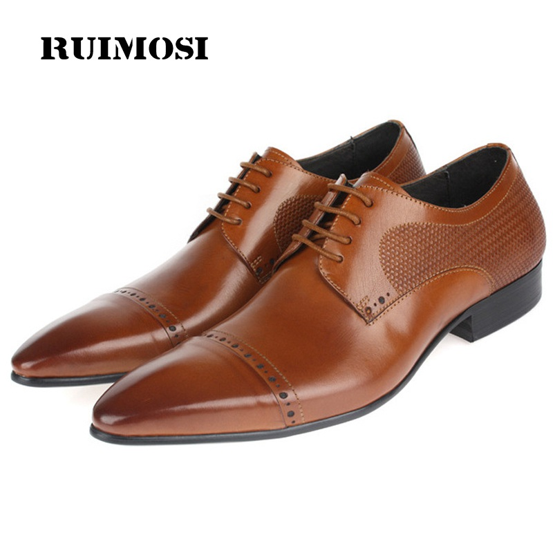 RUIMOSI Classic Designer Cap Top Man Formal Derby Shoes Genuine Leather Oxfords Pointed Toe Business Men's Bridal Flats VK63
