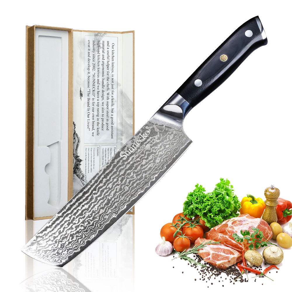 Sunnecko 7 inch Damascus Steel Cleaver Chefs Knife Japanese VG10 Blade Kitchen Cooking Knives G10 Handle Vegetable Meat CutSunnecko 7 inch Damascus Steel Cleaver Chefs Knife Japanese VG10 Blade Kitchen Cooking Knives G10 Handle Vegetable Meat Cut