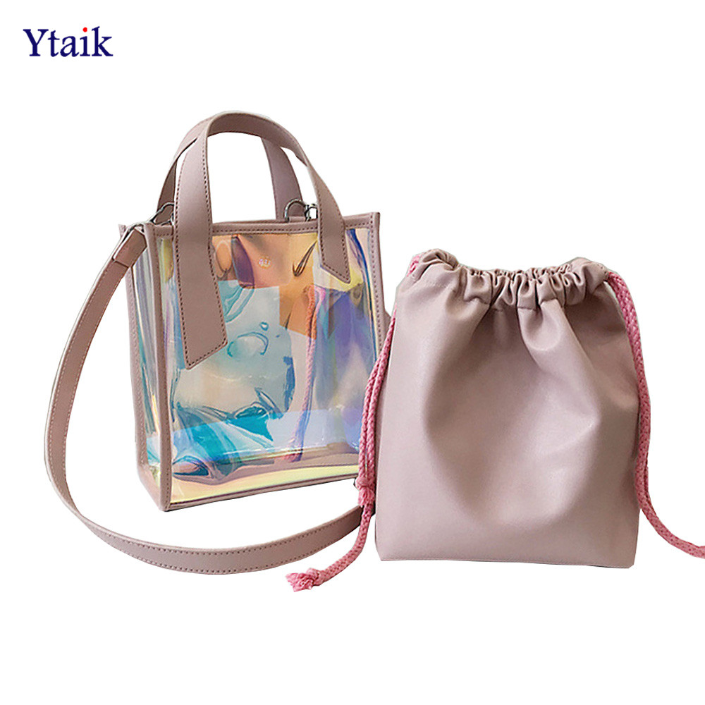 Detail Feedback Questions about Women Laser Hologram Transparent Shoulder  Bag PVC Jelly Tote Messenger Bags Female PU Leather Composite Bags Lady Beach  Bag ... 0c7ef5bb0b575