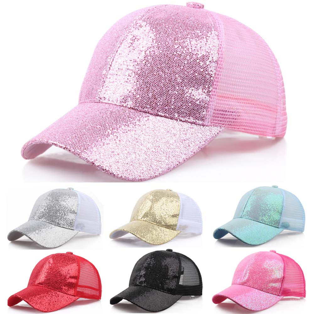 2019 Women Girl Ponytail Hat Baseball Cap New Fashion Baseball Sequins Shiny Messy Bun Snapback Sun Caps бейсболка(China)