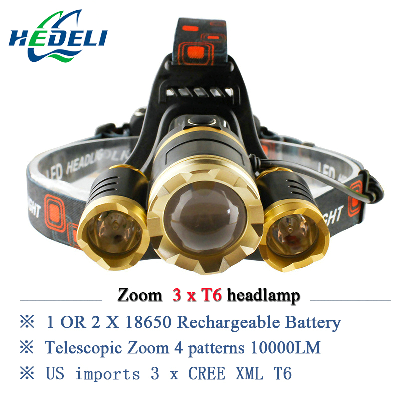 10000 lumens rechargeable led headlamp 3T6 head flashlight torch cree xml t6 head lamp waterproof lights headlight 18650 battery litwod z302309 usb 9 cree led led headlamp headlight head flashlight torch cree xm l t6 head lamp rechargeable for 18650 battery