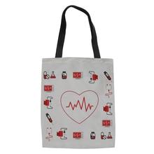 Recycel холщовые сумки для шоппинга мультфильм доктор Лен дамы девушки Складные хозяйственные сумки белые женские Экологичные сумки новые