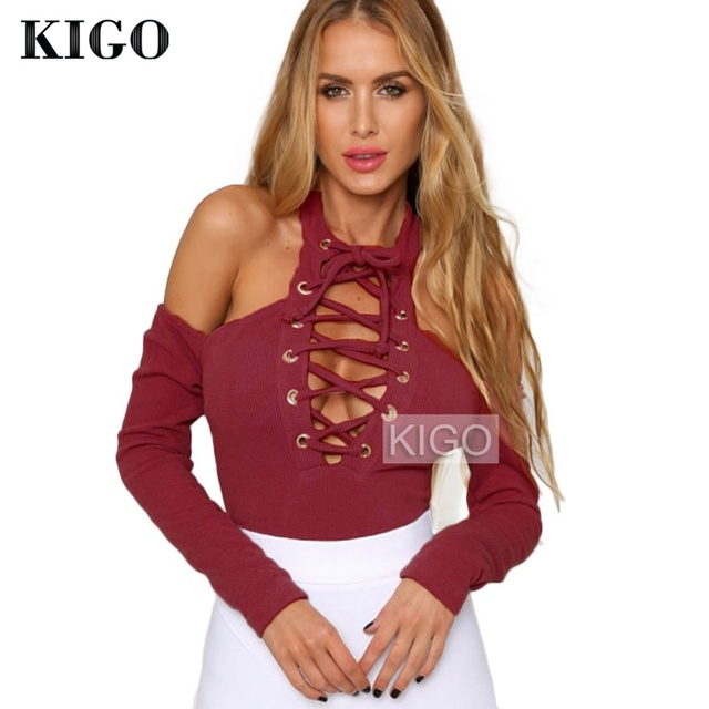 KIGO Autumn Long Sleeve Ladies Bodysuits Off Shoulder Sexy Rompers For Women Overalls Rompers Womens Jumpsuit 2016 KZ1345H