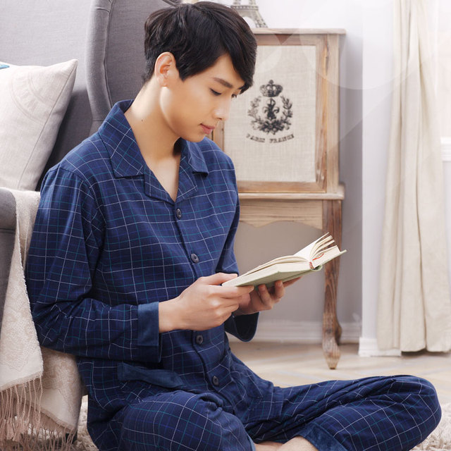 Men sleepwear cotton long sleeve tops long pants 2017 spring and autumn male pajama sets  quinquagenarian  thin lounge
