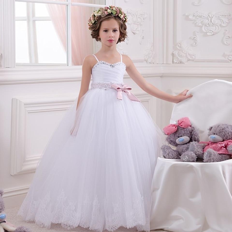 Delicate White Spaghetti Straps Ribbons Beading Shoulderless  Bow Little Brides Wedding Ball Gowns  Communion Flower Girl  Dress