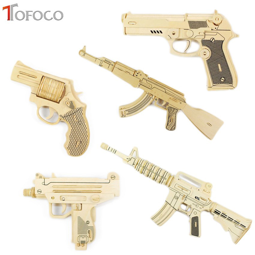 TOFOCO DIY Kids 3D Wooden Puzzle Gun AK-47 Model Assembling Kits IQ Educational Toys for Children brand new yuxin zhisheng huanglong high bright stickerless 9x9x9 speed magic cube puzzle game cubes educational toys for kids