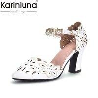 KarinLuna 2018 High Quality Large Size 33 43 Square High Heels Buckle Strap Woman Pumps Woman Pink Black Women Shoes