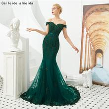 Green Tulle Mermaid Prom Dresses with Bead Lace Appliques Long Evening Party Dress Women Formal