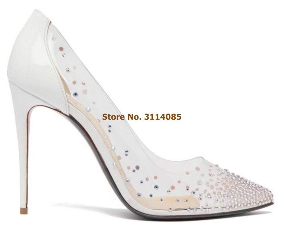 Женские Элегантные шикарные свадебные туфли с украшением в виде кристаллов открытые белые модельные туфли лодочки в стиле пэчворк прозрачные туфли для торжеств из ПВХ блестящие туфли лодочки - 3