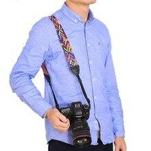 Câmera Da Foto do Estilo étnico Colorido Cinta de Algodão Quintal Padrão Alça de Pescoço Alça de Mão para Canon Nikon DSLR Ombro