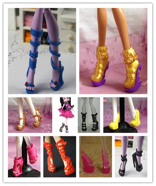 O for U 20 Pairs/Lot Toy High Quality Boots Sandals Shoes For Monster Dolls Multi Mixed Styles 1/6 Doll High Heel Shoes
