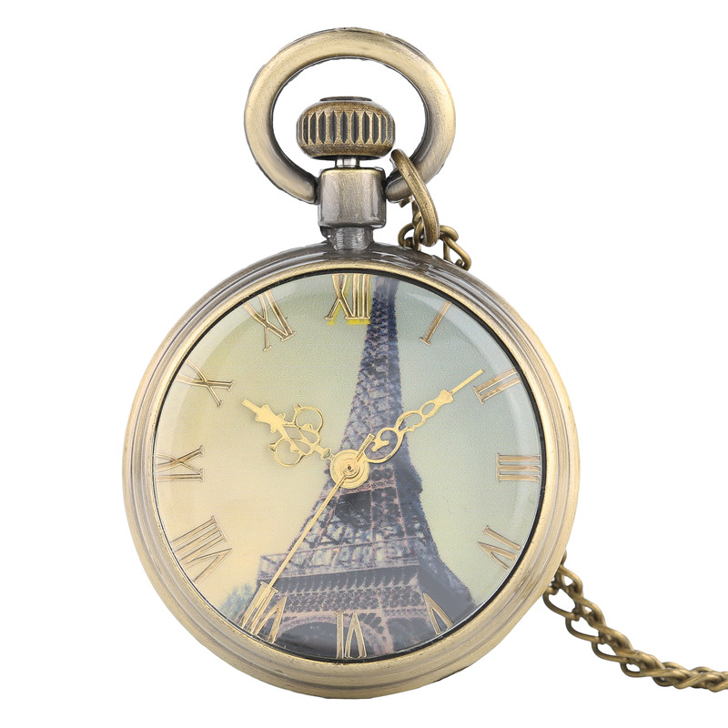 Fahion Small Vintage Necklace For Women Lady Girl Eiffel Tower Style Pocket Watches Quartz Watch With Long Chain Valentine Gifts