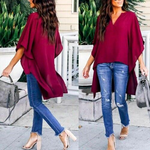 2019 Autumn Womens Shirts Seven Sleeve V-Neck Solid Irregular Shirts Loose T-Shirts 2019 Hot Blouse Womens Shirt Plus Size Shein