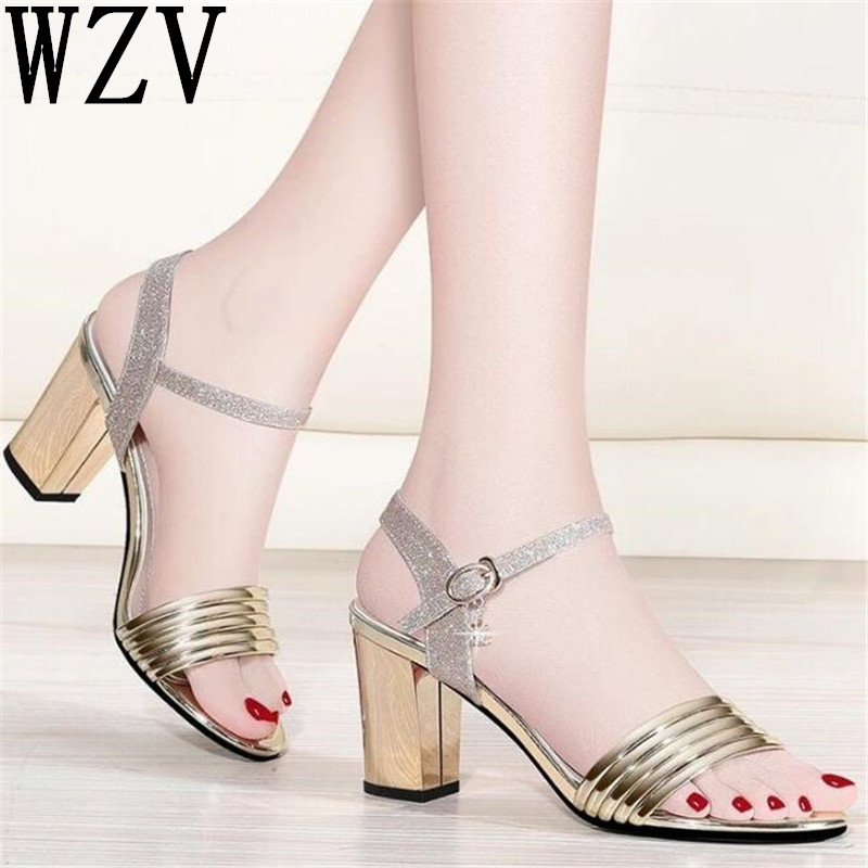 2018 Women Sandals Fashion Summer Buckle Strap High Heel Office Lady Pump Woman Shoes Women Sandals Square High Heels Sandals xiaying smile summer new woman sandals platform women pumps buckle strap high square heel fashion casual flock lady women shoes page 9